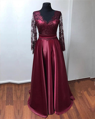 Image of burgundy evening dresses
