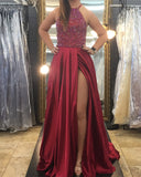 Crystal Beaded Halter Long Satin Backless Prom Dresses 2018