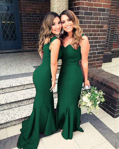 Image of Emerald-Green-Formal-Mermaid-Gowns-Long-Satin-Wedding-Party-Dress