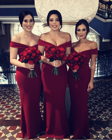 Image of Burgundy-Bridesmaid-Dresses-Long-Cheap-Mermaid-Formal-Gowns
