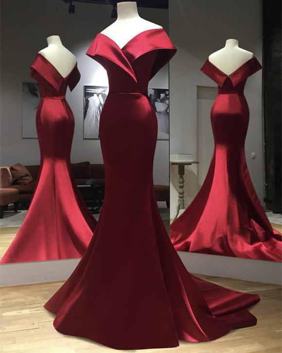Burgundy Satin Mermaid Off The Shoulder Prom Dresses 2019