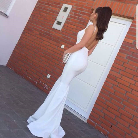 Image of Long Backless Mermaid Prom Evening Dresses