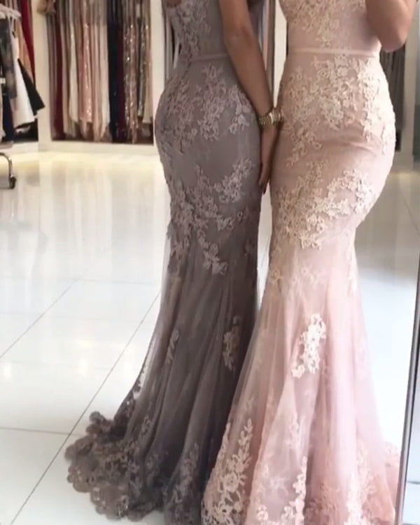 Spaghetti Straps V-neck Mermaid Evening Dresses Lace Appliques Prom Gowns