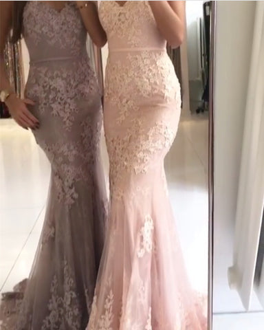 Image of Spaghetti Straps V-neck Mermaid Evening Dresses Lace Appliques Prom Gowns