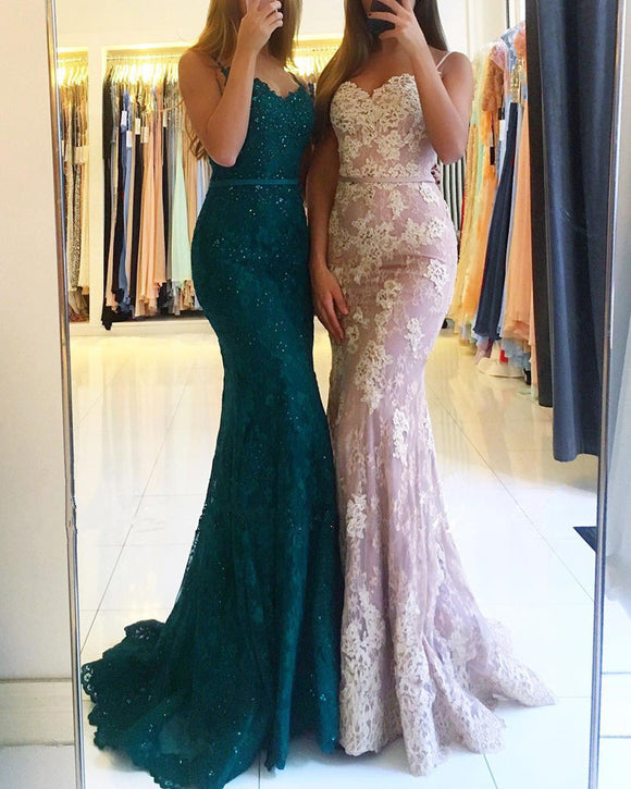 lace mermaid prom dresses