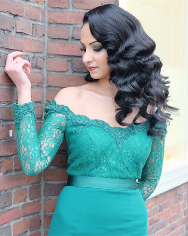 Image of Mermaid-Off-The-Shoulder-Evening-Dress-Lace-Long-Sleeves