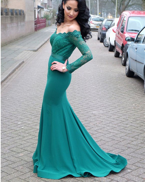 Hunter-Green-Lace-Long-Sleeves-Mermaid-Evening-Dresses