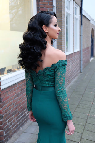 Image of Modest-Prom-Dresses-Long-Sleeves-Lace-Off-Shoulder-Formal-Gowns