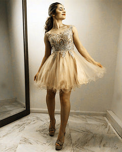Champagne-Homecoming-Dresses-Lace-Appliques-Prom-Gowns-Short