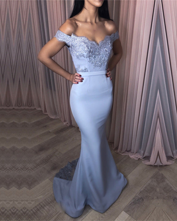 Elegant Lace Appliques V-neck Jersey Mermaid Prom Dresses 2019