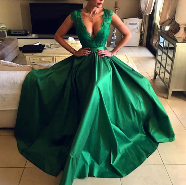 2019-Prom-Dresses-Green-Long-Leg-Slit-Evening-Gowns