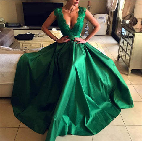 Image of 2019-Prom-Dresses-Green-Long-Leg-Slit-Evening-Gowns