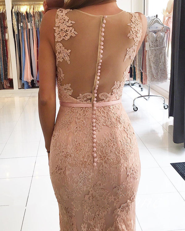 Sexy Nude Back Champagne Lace Mermaid Evening Dresses 2018