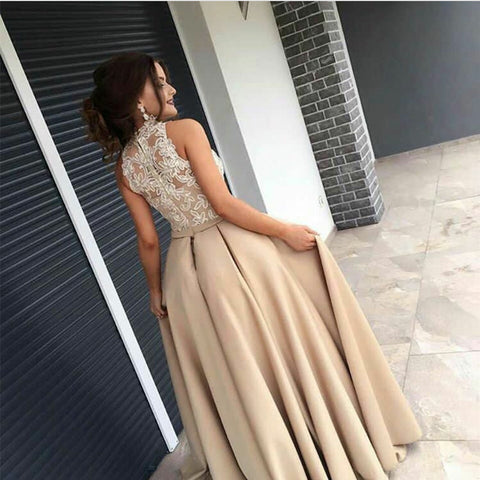 Image of Ivory Lace Appliques Halter Long Champagne Mermaid Evening Dresses 2017
