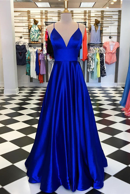 Spaghetti Straps V-neck Long Satin Prom Dresses Floor Length Evening Gowns