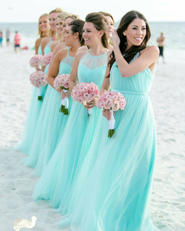 Boho-Chic-Tulle-Beach-Bridesmaid-Dresses-For-Bridal-Party