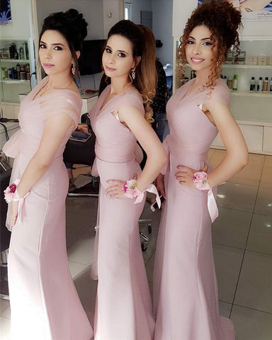 Image of Pale-Pink-Bridesmaid-Dresses-Long-Jersey-Mermai-Gowns-With-Sleeves