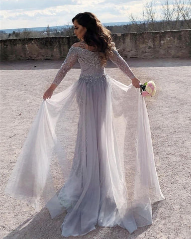 Image of Elegant Off The Shoulder Lace Mermaid Evening Dresses With 3/4 Sleeves