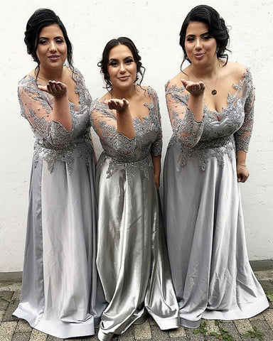 Image of Modest-Bridesmaid-Dresses-Silver-Satin-Formal-Gowns-With-Lace-Appliques-Sleeves