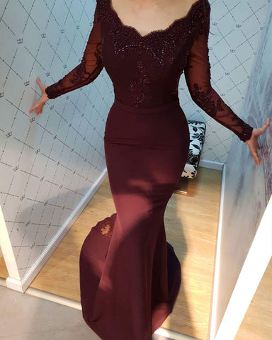 Image of Lace Appliques Long Sleeves V-neck Mermaid Bridesmaid Dresses
