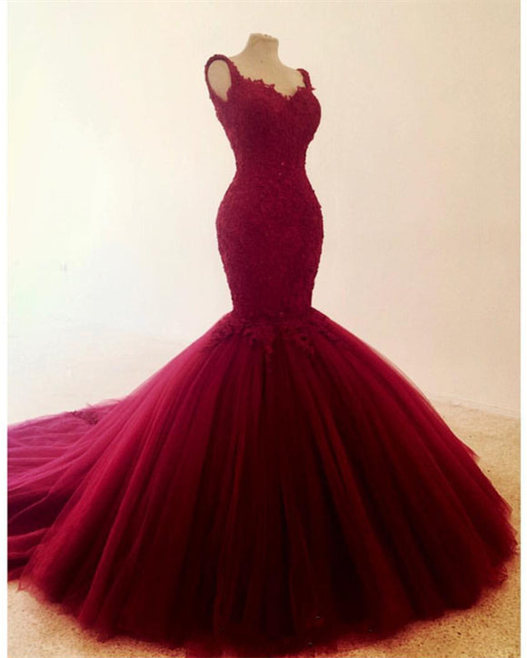 Elegant Lace Embroidery Sweetheart Mermaid Tulle Prom Evening Dresses