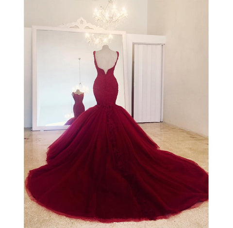Image of Elegant Lace Embroidery Sweetheart Mermaid Tulle Prom Evening Dresses
