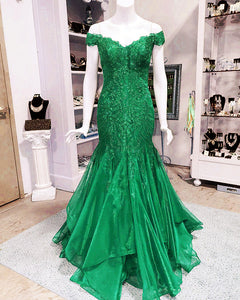 Elegant Lace Appliques V-neck Off The Shoulder Mermaid Prom Dresses 2018