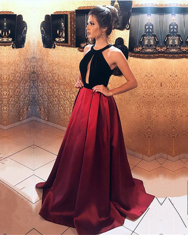 fdf0fb22382 Black Velvet Top Open Back Satin Prom Dresses 2019 Long Evening ...