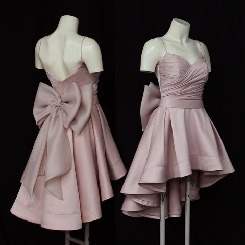 Image of High Low Style Sweetheart Bow Back Satin Prom Homecoming Dresses