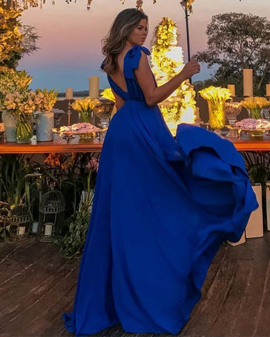 Image of Sexy-Long-Chiffon-Bridesmaid-Dresses-Royal-Blue-Formal-Gowns
