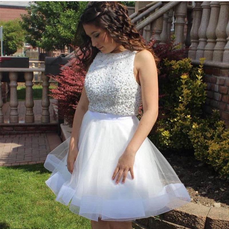 cdf7f0b8da0 Sequins Beaded Top White Organza Ruffles Homecoming Dresses Two Piece.  Double tap to zoom