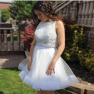 Sequins Beaded Top White Organza Ruffles Homecoming Dresses Two Piece
