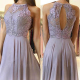 Elegant Lace Halter Long Chiffon Bridesmaid Dresses Leg Slit