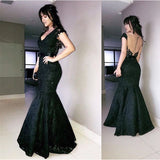 V Neck Bow Sashes Black Lace Mermaid Evening Dresses