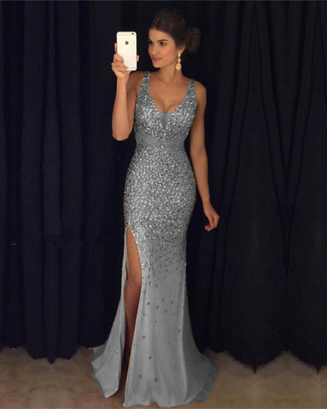 Sexy Leg Split Crystal Beaded Mermaid Prom Dresses V Neck Evening Gowns