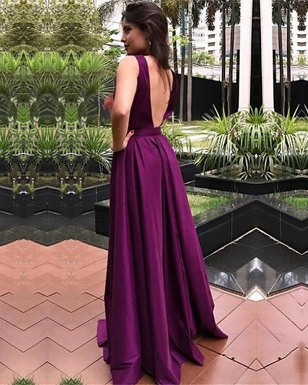 Long Satin Open Back Prom Dresses Floor Length Bridesmaid Dresses