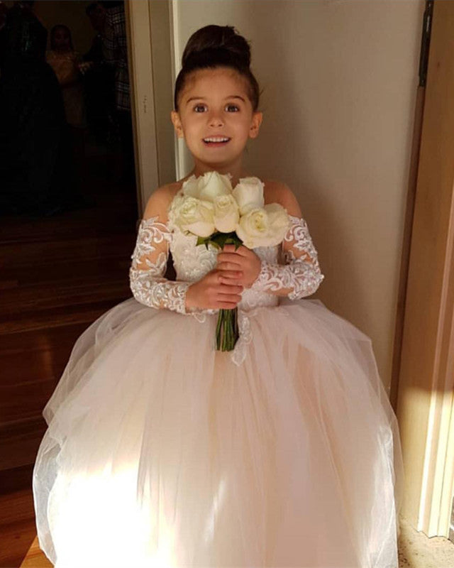c63b3dcde0c04 Illusion Long Sleeves Princess Ball Gown Flower Girl Dresses Lace Train