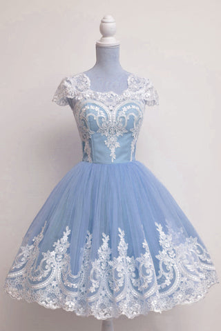 Vintage 1950s Prom Dresses Tulle Swing Party Dress Lace Appliques