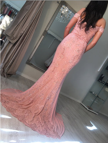 Image of Sexy Off Shoulder Long Pink Mermaid Prom Dresses 2018