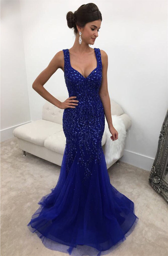 Royal Blue Crystal Beaded Mermaid Backless Evening Gowns