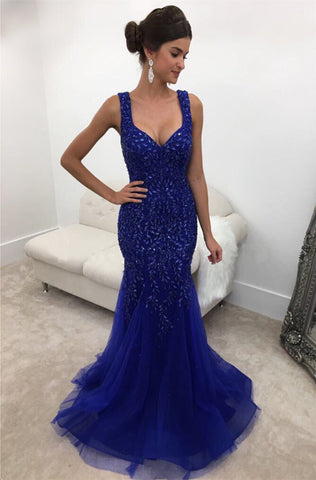Image of Royal Blue Crystal Beaded Mermaid Backless Evening Gowns
