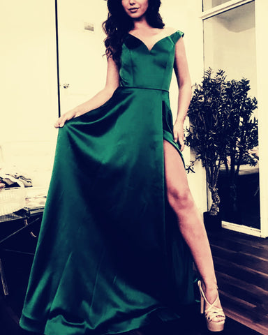 Image of Emerald-Green-Prom-Long-Dresses-2019-Formal-Party-Gowns