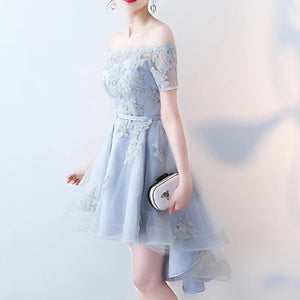 Asymmetric Style Silver Tulle Off Shoulder Bridesmaid Dresses Lace Appliques