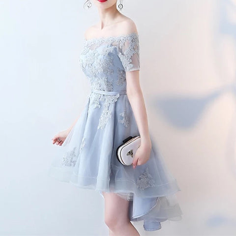 Image of Asymmetric Style Silver Tulle Off Shoulder Bridesmaid Dresses Lace Appliques