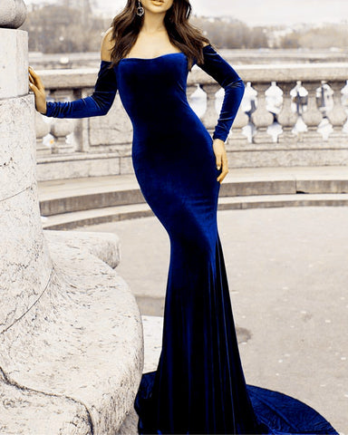 Image of Long Sleeves Mermaid Prom Dress Off Shoulder Velvet Evening Gowns