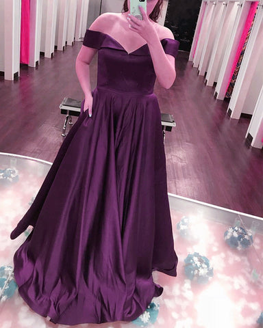 Image of Sexy Off The Shoulder Long Satin Prom Dresses 2019
