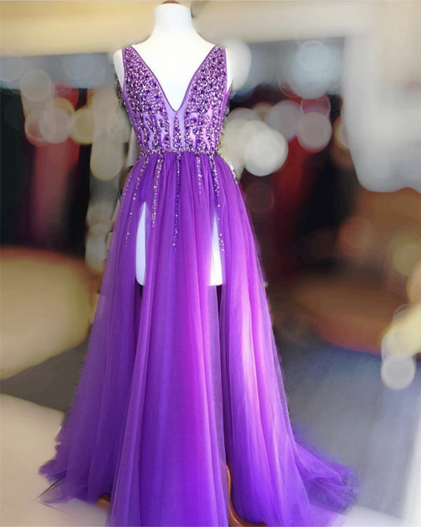 Long Tulle V-neck Prom Dresses Sequin Beaded Evening Gowns
