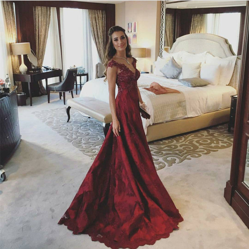990596018a3 Double tap to zoom · Modest Lace Cap Sleeves Long Burgundy Satin Prom Gowns  2019