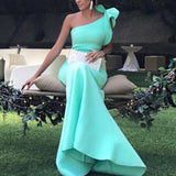 Long Satin One Shoulder Mermaid Prom Dresses 2018