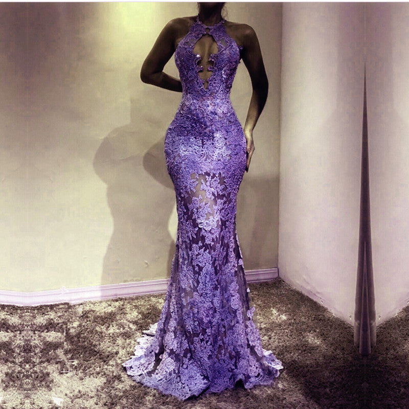 e3e3dc5825b Sexy See Through Lace Prom Dresses 2018 Mermaid Evening Gowns ...